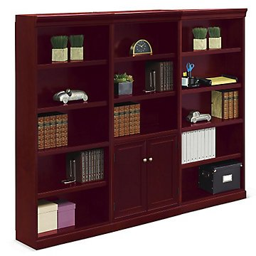 15 Shelf Library Wall - 72''H(Cherry Wood Finish/Brass Decorative Hardware) by OFF1