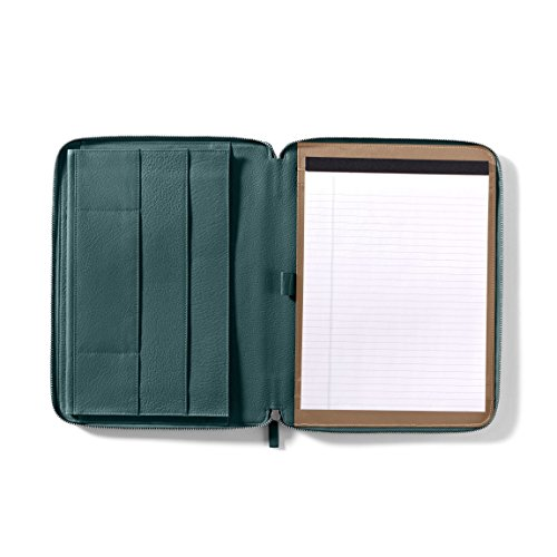 Leatherology Executive Zippered Portfolio with Interior iPad Pocket - Full Grain Leather Leather - Viridian (green) by Leatherology