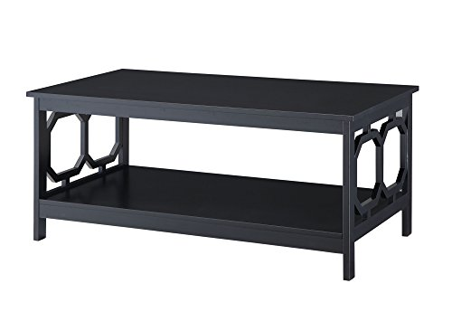 Convenience Concepts Omega Coffee Table, Black (With Table Leather Ottoman Coffee Shelf)