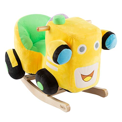 Deluxe Soft Plush Rocking Vehicle with Wooden Rockers - Choose Type! (Wooden Train Rocker)