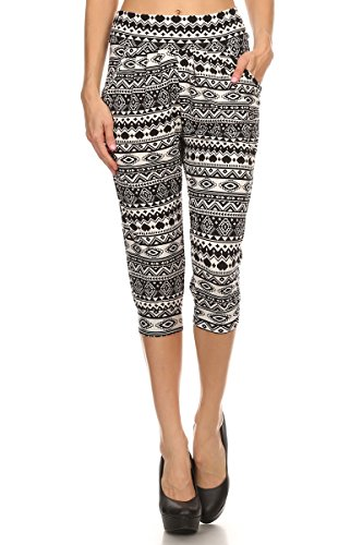 LA12ST Women's Black Heart Aztec Shapes Stretch Floral Printed Harem Capris Az3 One Size -