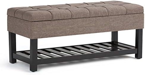 SIMPLIHOME Saxon 44 inch Wide Rectangle Storage Ottoman Bench