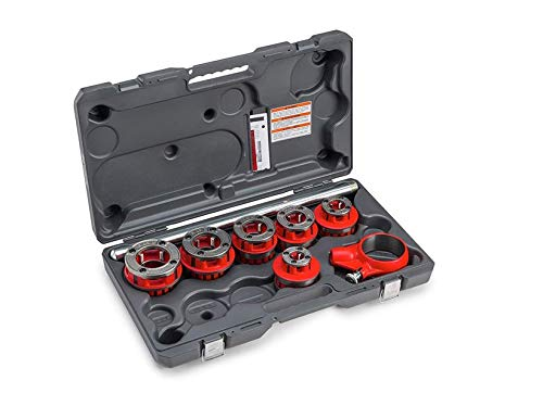 RIDGID 36475 Exposed 6 Ratchet Threader Set, Model 12-R Ratcheting Pipe Threading Set of 1/2-Inch to 2-Inch NPT Pipe Threading Dies and Manual Ratcheting Pipe Threader with Carrying Case
