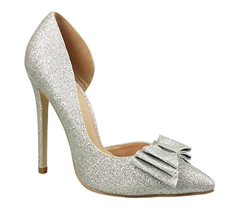 Bridal Bow - Chicastic Glitter Sparkling Bow Decor High Heel Platform Pumps Bridal Party Shoes Silver 7.5