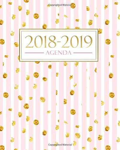 Agenda 2018-2019: 19x23cm : Agenda 2018 2019 semainier : 1 septembre 2018 au 31 août 2019 : Bandes roses avec points dorés Broché – 1 août 2018 Papeterie Bleue Gray & Gold Publishing 1640013350