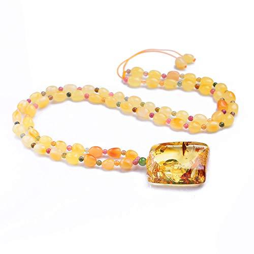 Gold Flower Amber Necklace Pendants Crystal Gemstone Round Beads (04)