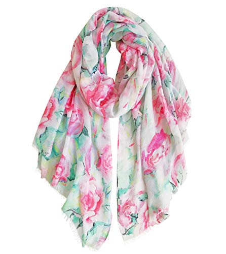 GERINLY Rose Blossom Print Scarf for Women Cozy Shwal Wrap -Various Colors (RoseBlue)