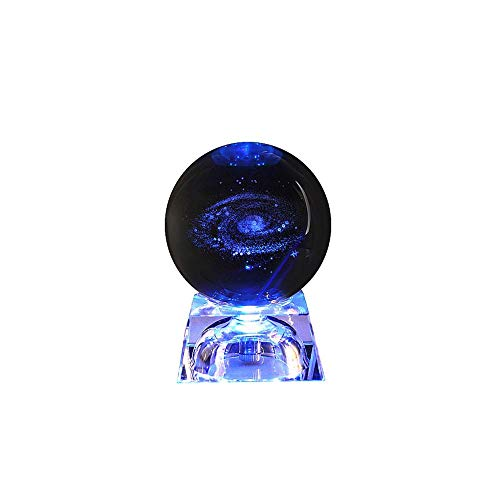 Solar System Crystal Ball with Lighting Base 3D Laser Engraved Galaxy Crystal Ball Table Lamp Glass Sphere Decorative Planet Miniatures Office Home Decoration Ornament Birthday Gift