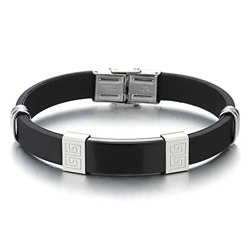 - COOLSTEELANDBEYOND Men Steel Black Silver Greek Key Pattern ID Identification Bracelet Black Rubber Wristband Bangle