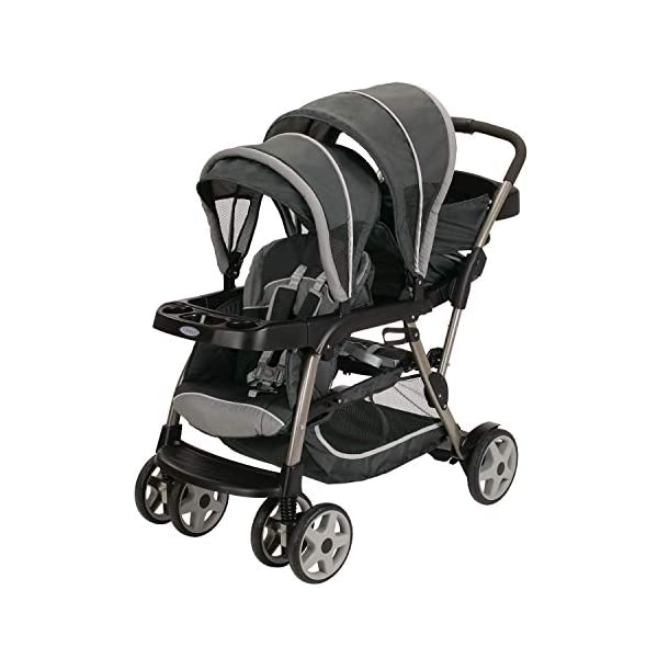 Graco Ready2Grow LX Stroller | 12 Riding Options | Accepts 2 Graco SnugRide Infant Car Seats, Glacier