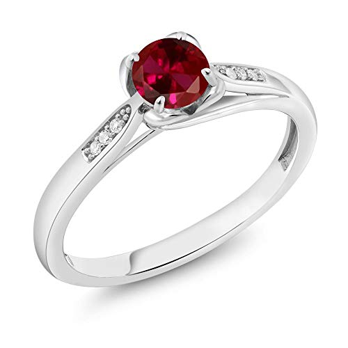 Gem Stone King 10K White Gold 0.64 Ct Round Red Created Ruby and Diamond Engagement Ring (Size 8)