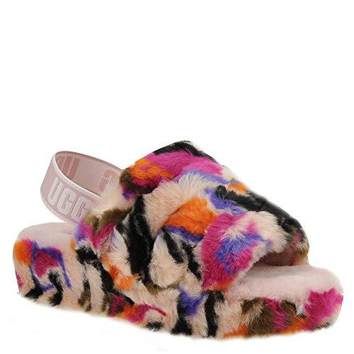 UGG Women's Fluff Yeah Slide MOTLEE Wedge Sandal, Multi, 11 M US