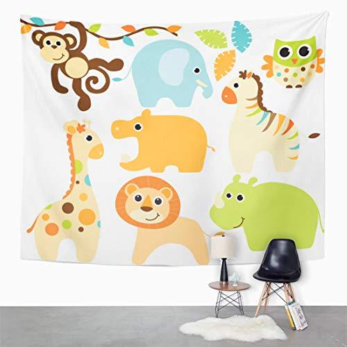 Semtomn Tapestry Wall Hanging Elephant Baby Animals Boy Monkey Jungle Zoo Cute Cartoon 50