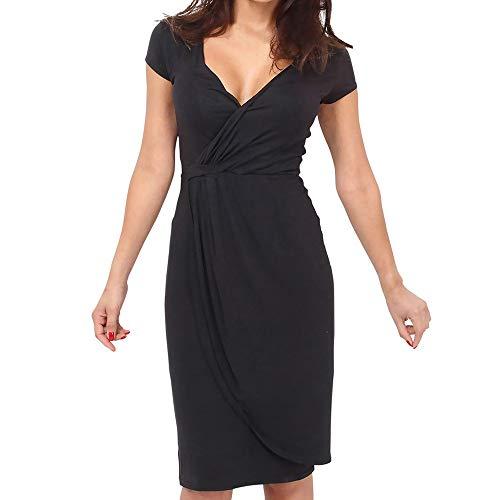 CCOOfhhc Women's Dresses Summer Casual Ruched Short Sleeve Sheath Dress Deep V-Neck Asymmetrical Bodycon Mini Dress Black