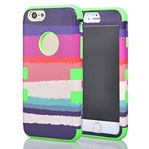 SHOUJIKE 3 in 1 Colorful Rainbow Pattern Hard Soft Silicone Back Case Cover fit for iPhone 6 (Assorted colors) , Pink