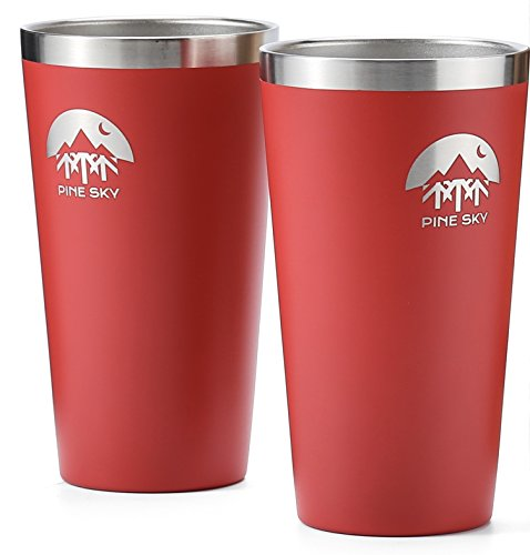 Stainless Steel True Pint Cup by Pine Sky, 16 oz Vacuum Insulated, Stackable Tumbler (Set of 2, Campfire) -