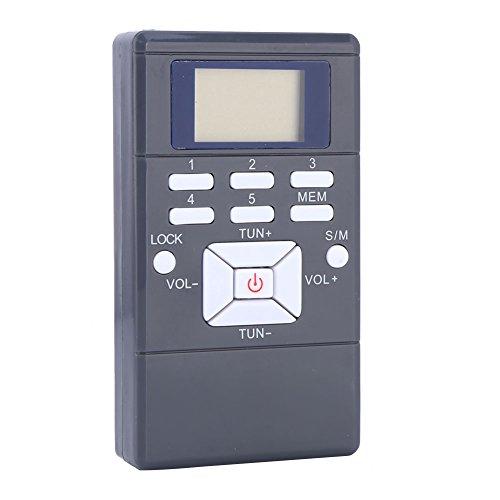 FM Radio,Mini Pocket Radio Digital Tuning Stereo Personal Radio Signal Processing Wireless Receiver with Earphone(Grey)