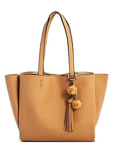 Women Leather Chic Fashion Tassel Charm Shopper Handbag (Taupe) - Chic Handbag Charm