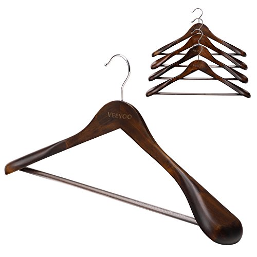 VEEYOO (Set of 5) Solid Wooden Coat Hangers - Extra-wide Non-slip Shoulder, Sturdy and Durable Suit Pants Clothes Hangers, Retro Finish (Suit Hangers Womens)
