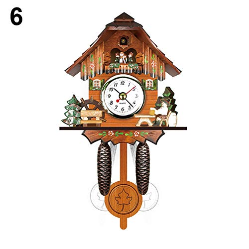 Antique Wooden Cuckoo Wall Clock Mini Bird Time Bell Swing Alarm Watch Home Art Decoration Gift