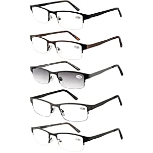 Eyecedar Metal Half-Frame Reading Glasses Men 5-Pack Spring Hinges Stainless Steel Material Includes 5-Cloth Pouch And Sun Readers 1.75