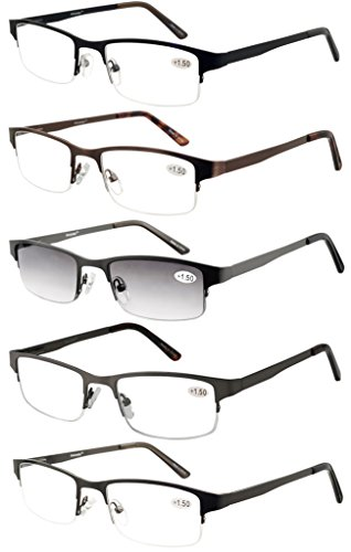Eyecedar Metal Half-Frame Reading Glasses Men 5-Pack Spring Hinges Stainless Steel Material Includes 5-Cloth Pouch And Sun Readers 1.75 Spring Temple Half Reading Glasses