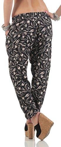 malito Pantalones Anchos Pluma Mirar Pantalón de Jogging 2105-52 Mujer negro