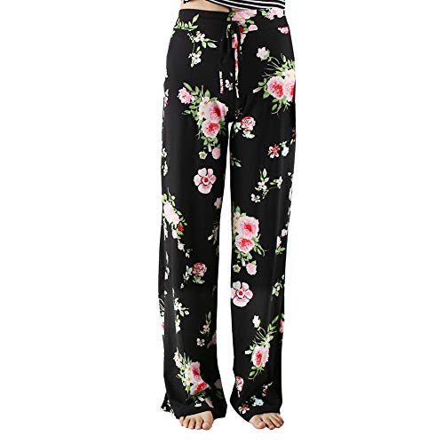 Buttery Soft Pajama Pants for Women - Floral Print Drawstring Casual Palazzo Lounge Pants Wide Leg for All Seasons (M, Black 01)