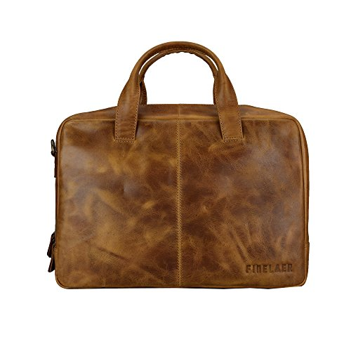 Finelaer Genuine 14'' Leather Laptop Messenger Shoulder Office College Bag Soothing Brown by FINELAER