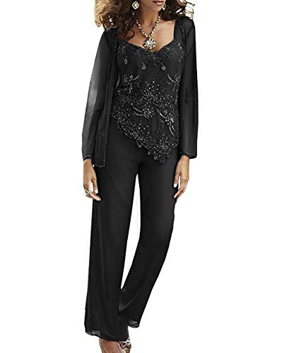 CLOTHSURE Women's 3 Piece Mother of The Bride Pant Suits Long Sleeve Beaded Wedding Outfits with Jackets Black (Beaded 3 Piece Pant)
