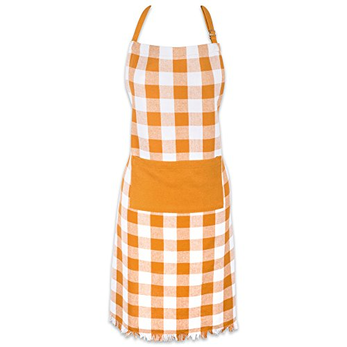(DII Cotton Adjustable Chef Apron with Pocket and Extra Long Ties, Woven Heavyweight Men and Women Fringed Kitchen Apron for Cooking, Baking, & BBQ - Pumpkin Spice, Check Plaid)