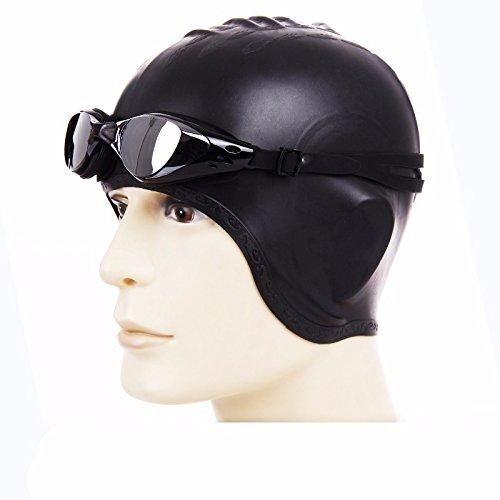 LXKMTYJ Protecteur DOreille De Silicone Pour Hommes Et Femmes Protection Des Cheveux Casquette Imperméable + Lunettes Anti-Buée noir