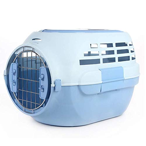 LCLZ Pet Portable Cage, Dog Out with Skylight Pet Air Box, Out Portable Cat Consignment Box, Air Cage,Blue Crate (Color : Blue)
