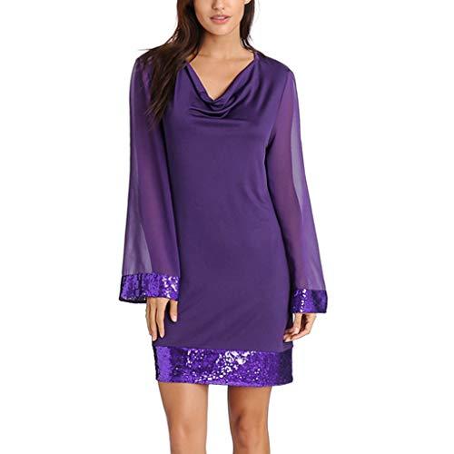 - Jiayit Dresses Women Casual V-Neck Sequined Ruffled Chiffon Stitching Mini Dress