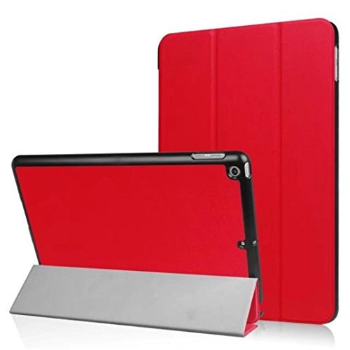 Coohole Leather Slim Folding Stand Painted Protective Case Cover For ipad 9.7Inch 2017 Tablet (Red)