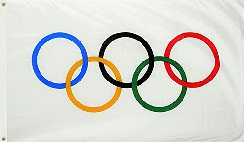 Faylagee-yx Olympic Games 3x5 Feet Flag Olympic Rings Intern