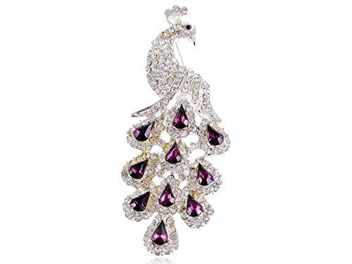 Peachick Costume (Alilang Gorgeous Amethyst Purple Color Crystal Rhinestone Peacock Bird Fashion Jewelry Pin Brooch)