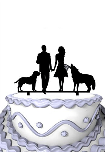 (Meijiafei Sweet Couple with Tame Dogs Wedding Silhouette Acylic Cake Topper)