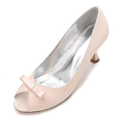 L@YC Womens Work Platform Wedding Court Shoes Bowknot Pumps Stiletto Low Mid Kitten Heel Size 3-8 Champagne 4y6t0Rm8LO