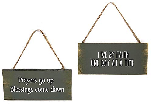 MIDWEST-CBK 2 Green Wooden Farmhouse Hanging Signs