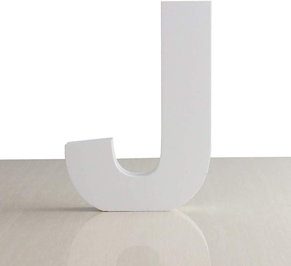 ZOOYOO White Wood Letter J for Decoration Wall Letters Marquee Alphabet DIY White Words Sign Hanging for Home Bedroom Office Wedding Party Decor