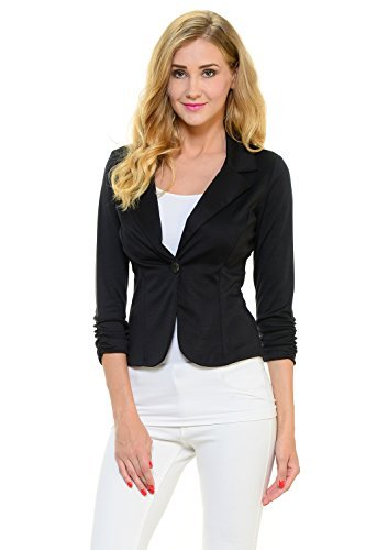 YourStyle Casual Work Solid Candy Color Blazer-MADE IN USA (X-Large, Black) - Button Front 3/4 Length Coat