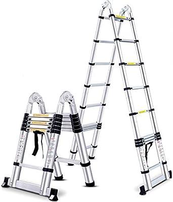 Heces Escalera de Mano Taburete De Paso De Doble Cara Plegable Ultra-Estable A Largo Engrosada De Fábrica Al Aire Libre Emplazamiento De La Obra Escalera (Color : Silver, Size : 3.8m): Amazon.es: