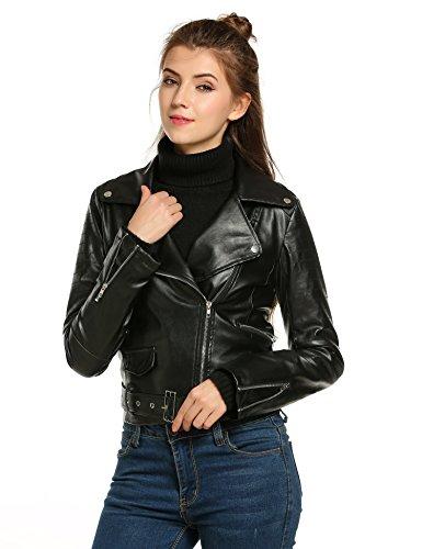 Zeagoo Women's Faux Leather Moto Biker Zip Up Short Slim Fit Jacket With Belt 41SdY dUj6L