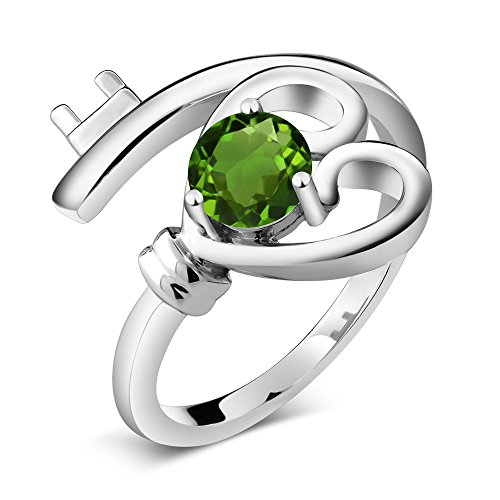 0.50 Ct Round Green Chrome Diopside 925 Sterling Silver Heart Key Ring (Hearts Women Ring Chrome)