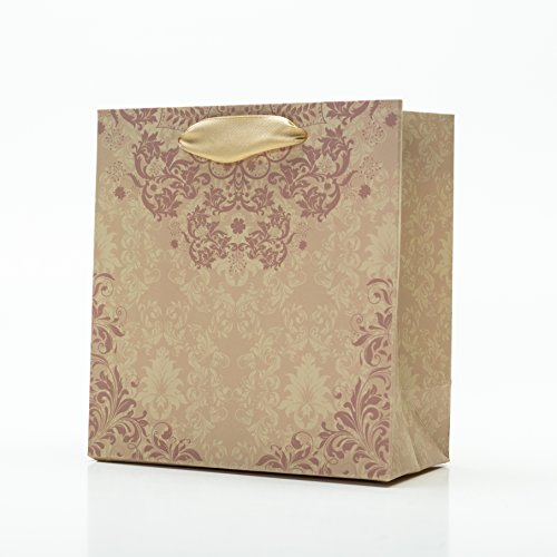- [12 bags] Wedding Gift Bags - Gold Floral - Bulk Set (6x3x6
