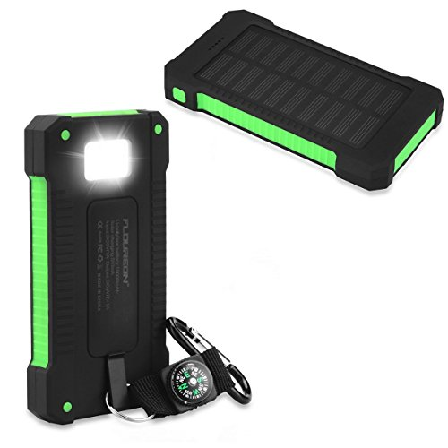 FLOUREON 10000mAh Solar Charger Power Bank Waterproof Portable External Battery Backup with Dual USB for Android iPad iPhone Cellphones, LED Flashlight with Compass for Emergency(Green) (Solar Portable Charger)