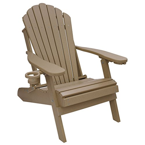 Poly Outdoor Furniture - ECCB Outdoor Outer Banks Deluxe Oversized Poly Lumber Folding Adirondack Chair (Weather Wood)