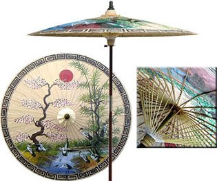 Superieur Asian Spring 7 Foot Patio Umbrella With Base   Sand