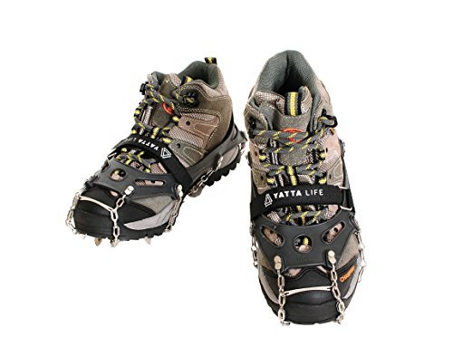 Yatta Life Heavy Duty 14-Spikes Trail Spike Ice Grip Snow Cleats Footwear Crampon for Walking, Jogging, or Hiking on Snow and Ice (Large (Black) Size 9-10.5)
